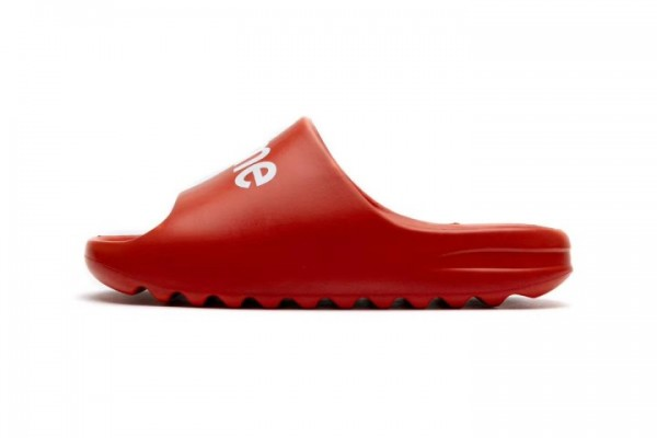 Yeezy Red Slides Supreme Logo on the